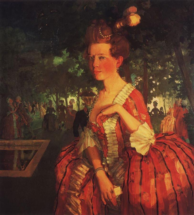 Молодая девушка в красном платье (Девушка с письмом). 1912