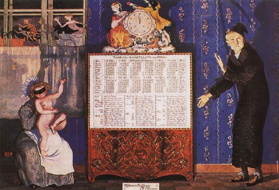 Новый и старый год. Обложка табель-календаря на 1905 год. 1904