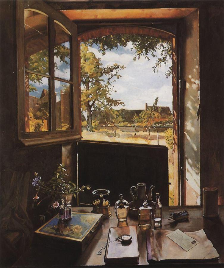 Окно - дверь - пейзаж (Открытая дверь в сад). 1934