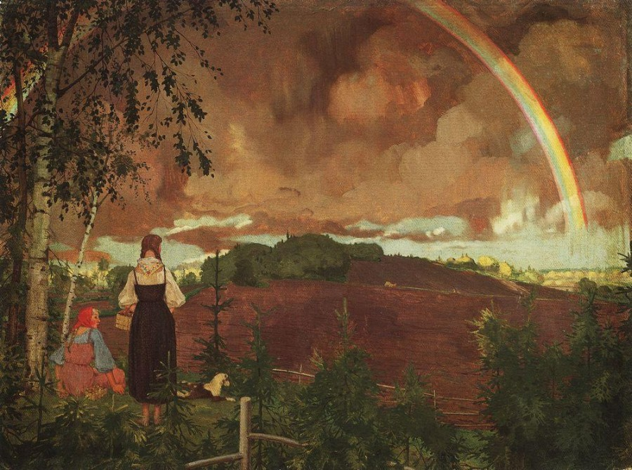 Пейзаж с двумя крестьянскими девушками и радугой. 1918