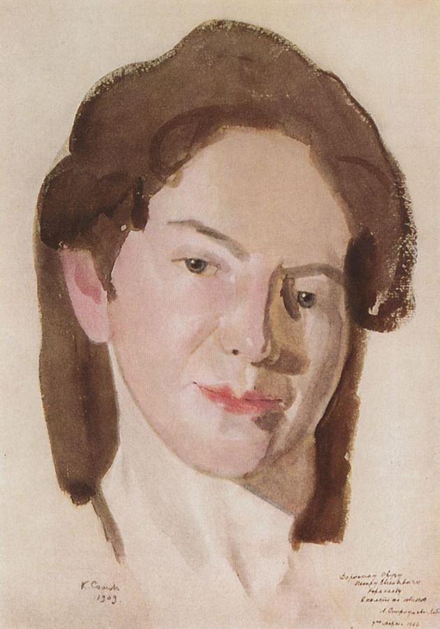 Портрет А.П.Остроумовой-Лебедевой. 1909