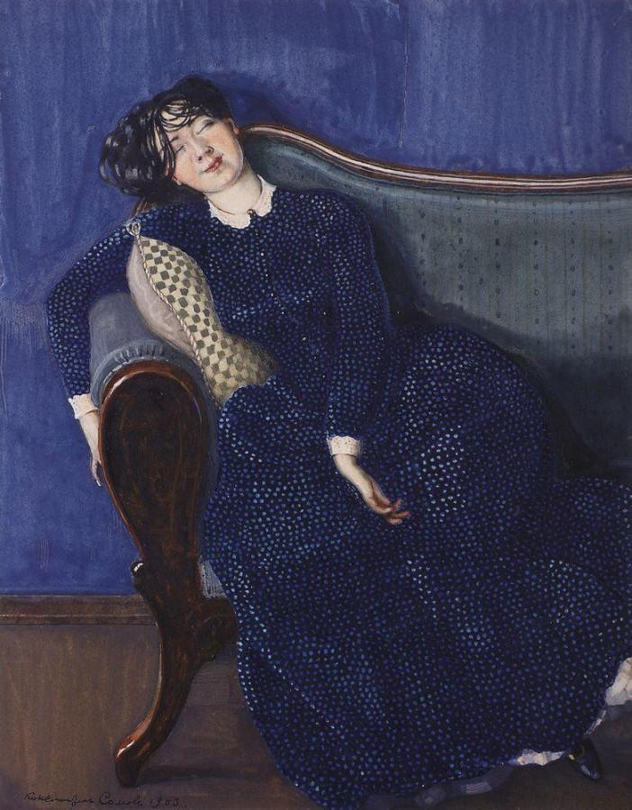 Спящая женщина в синем платье. 1903