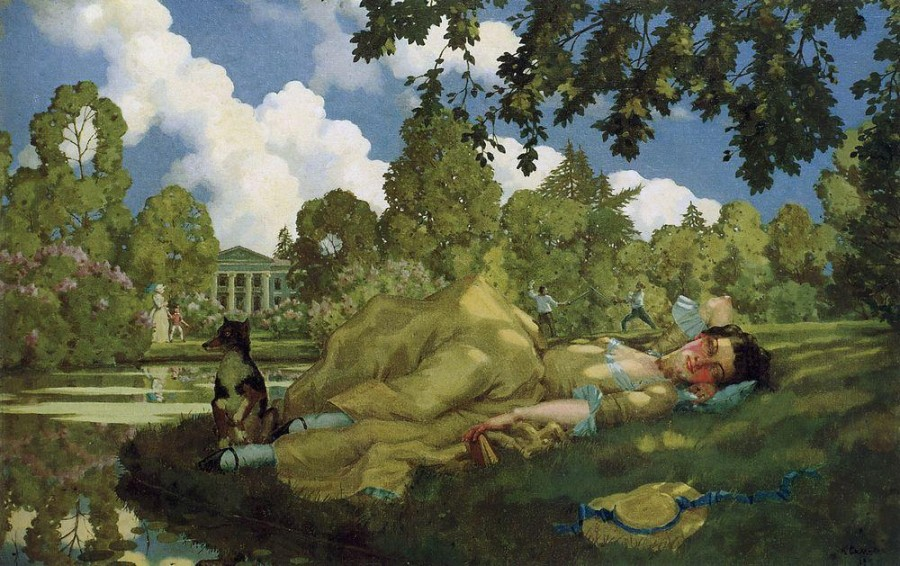 Спящая молодая женщина в парке. 1922