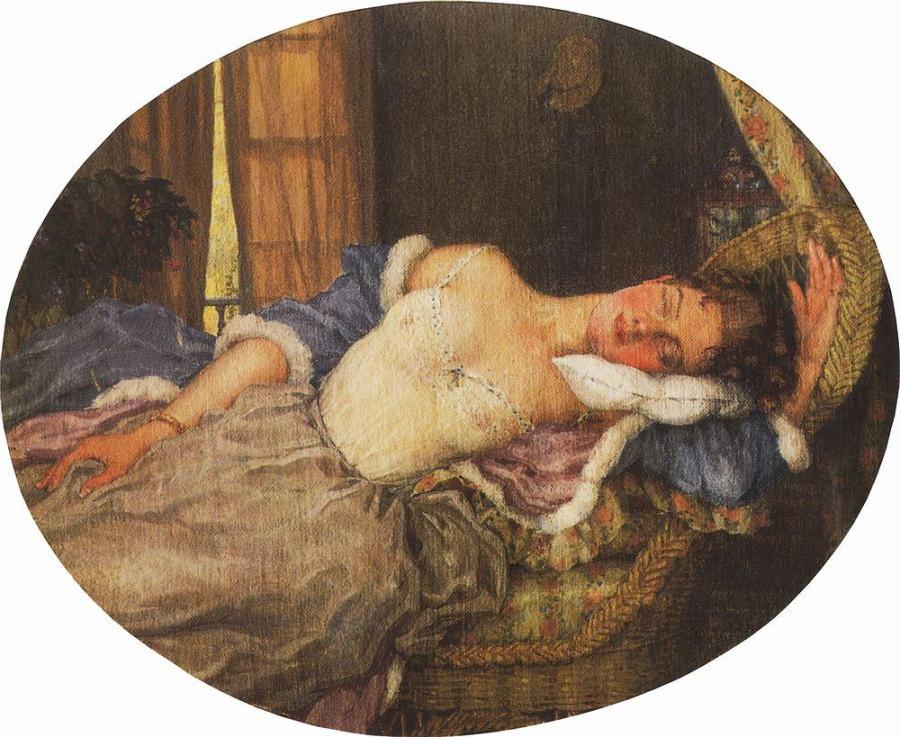 Спящая молодая женщина. 1922