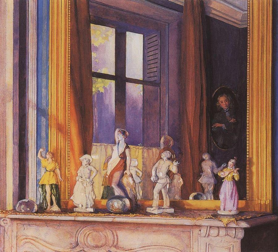 Фарфоровые фигурки на каменной полке. 1930