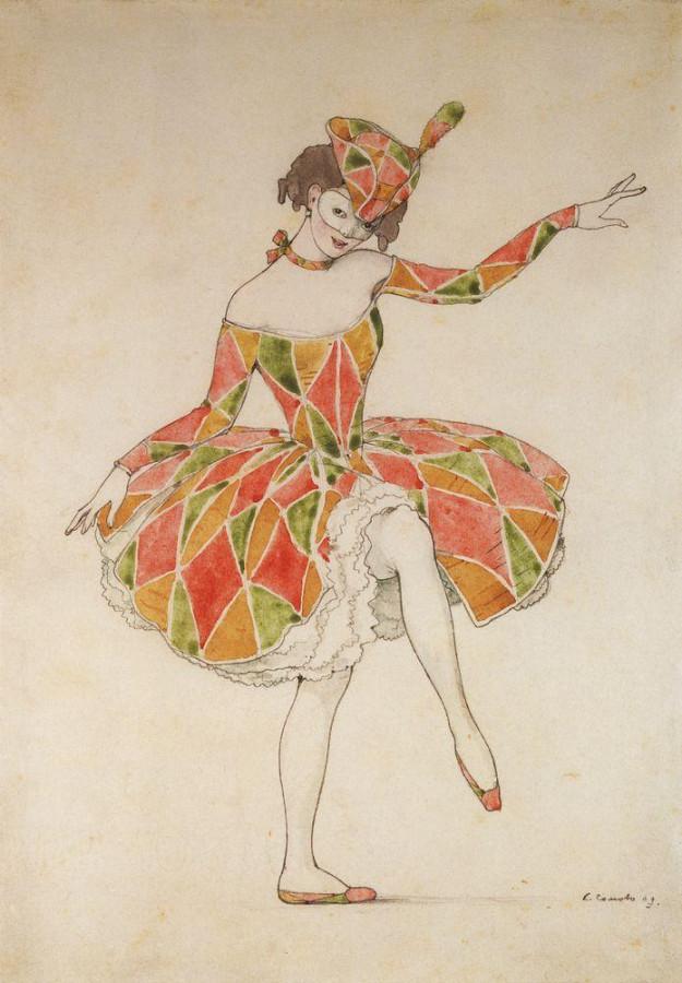 Эскиз костюма Коломбины для Анны Павловой в Арлекинаде. 1909