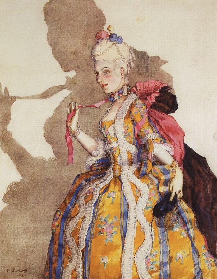 Эскиз костюма маркизы для Т.П.Карсавиной ( для танца на музыку Моцарта ). 1924