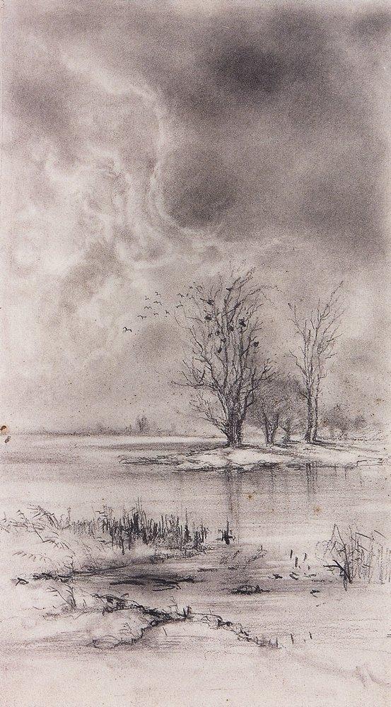 Весенний пейзаж. Ростепель. 188-1890-е