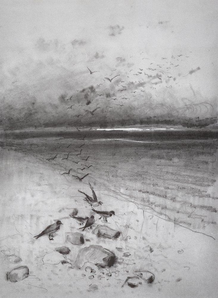 Вечер. Поле с воронами. 1880-е