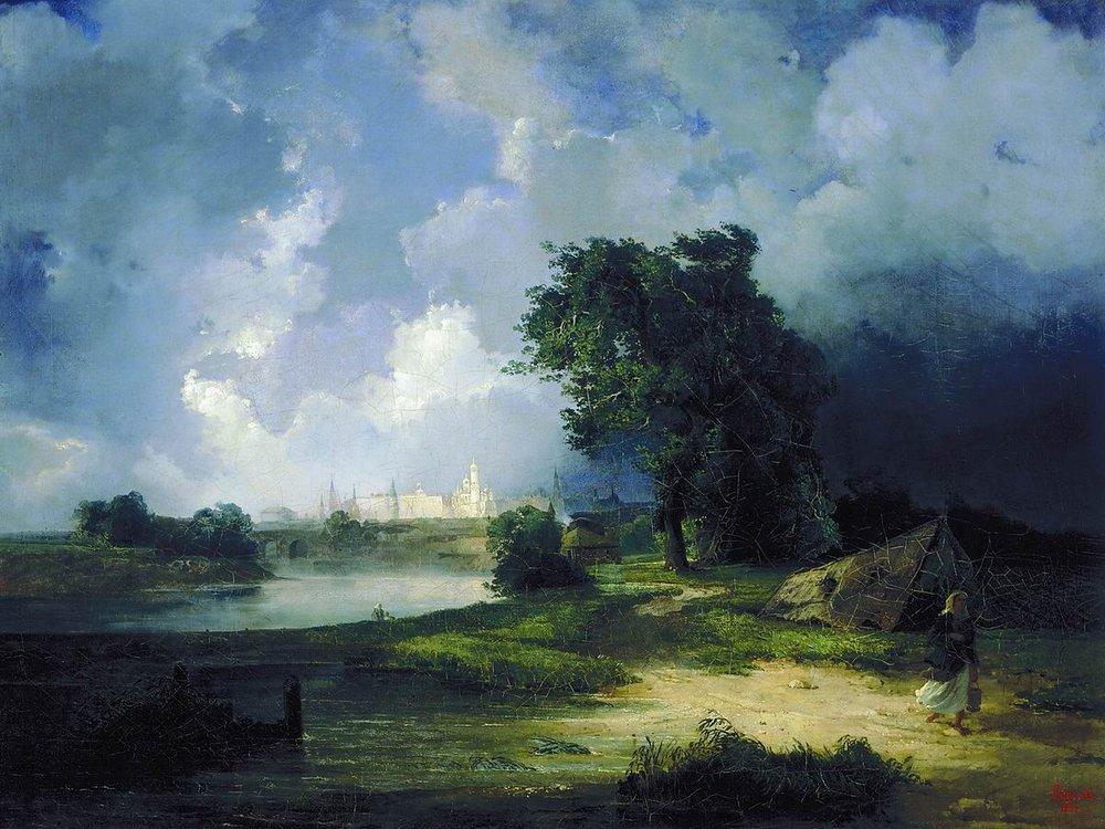 Вид на Кремль от Крымского моста в ненастную погоду. 1851