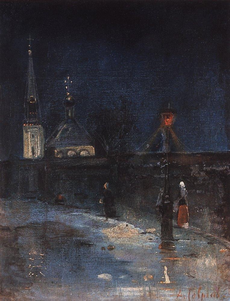 К заутрене. Морозная ночь. 1880-1890-е