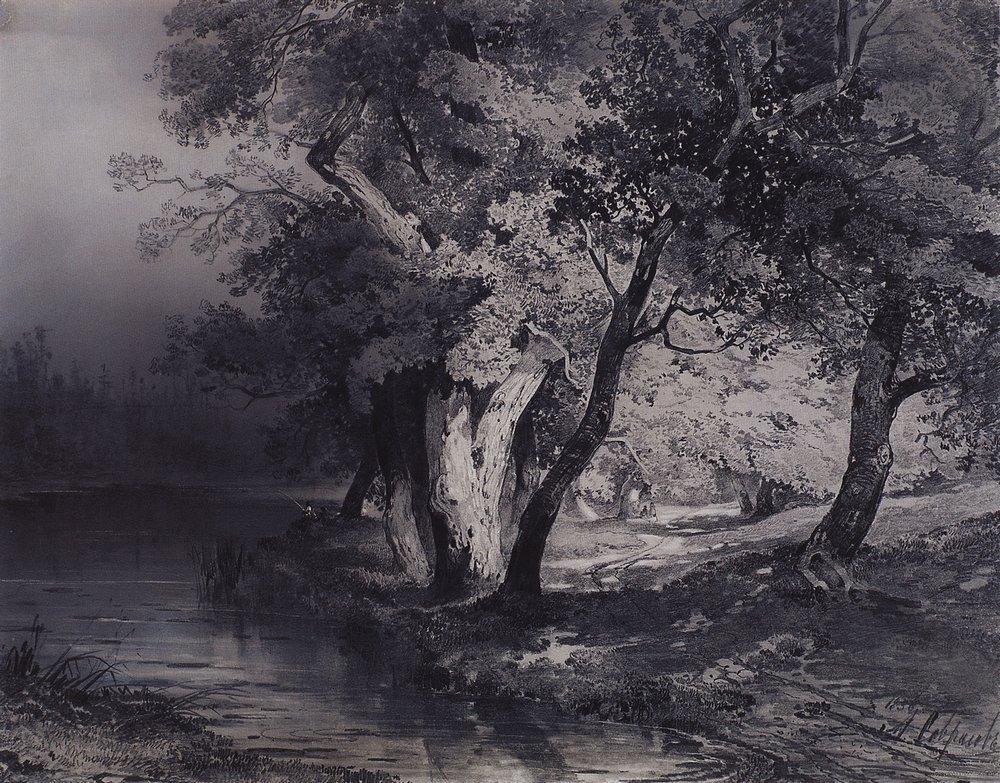 Лес у озера, освещенный солнцем. 1856