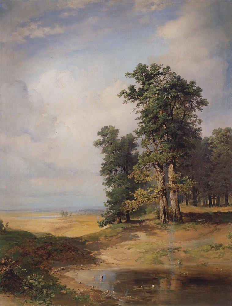 Летний пейзаж с дубами. Середина 1850-х