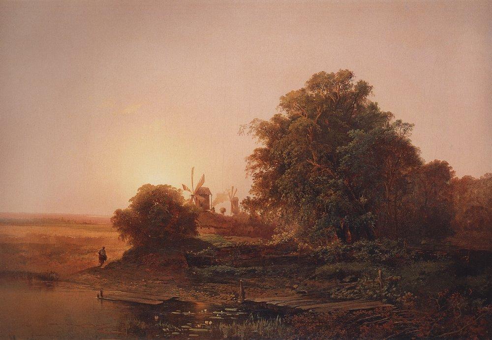 Летний пейзаж с мельницами. 1859