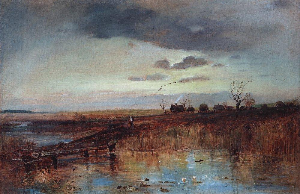 Осень. Деревушка у ручья. 1870-е