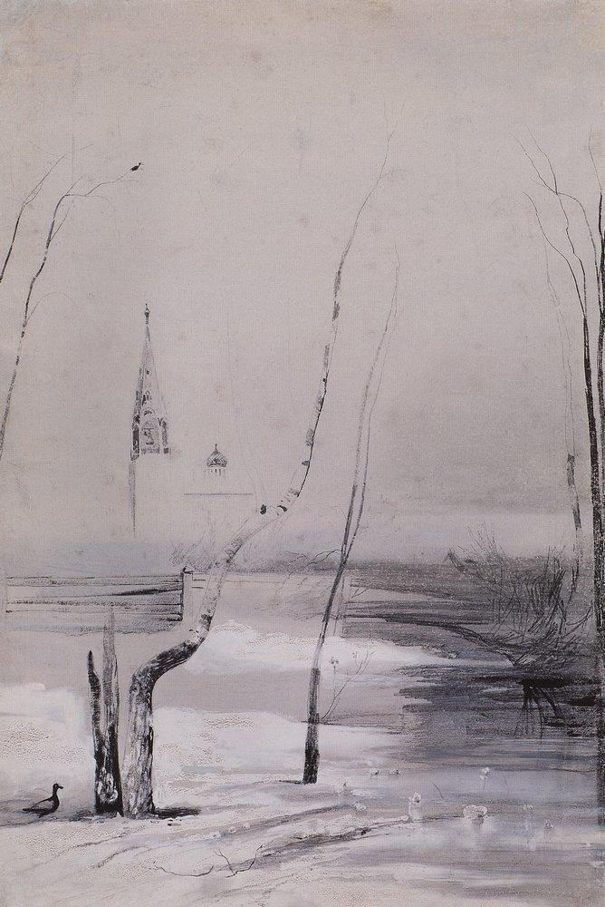Пейзаж с церковью и колокольней. Начало 1870-х