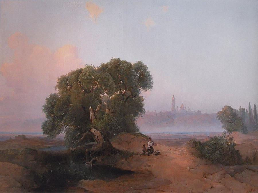Вид Киева с Днепра на Печерскую лавру. 1852