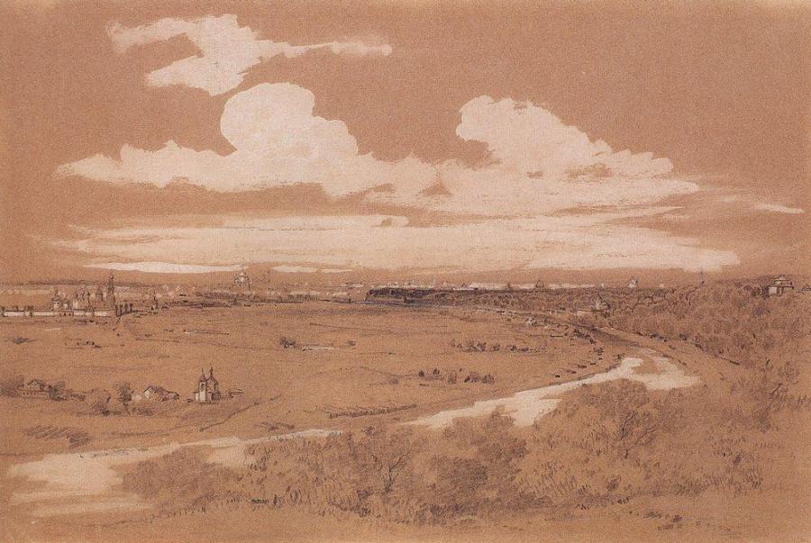 Вид Москвы с Воробьевых гор. 1850-е