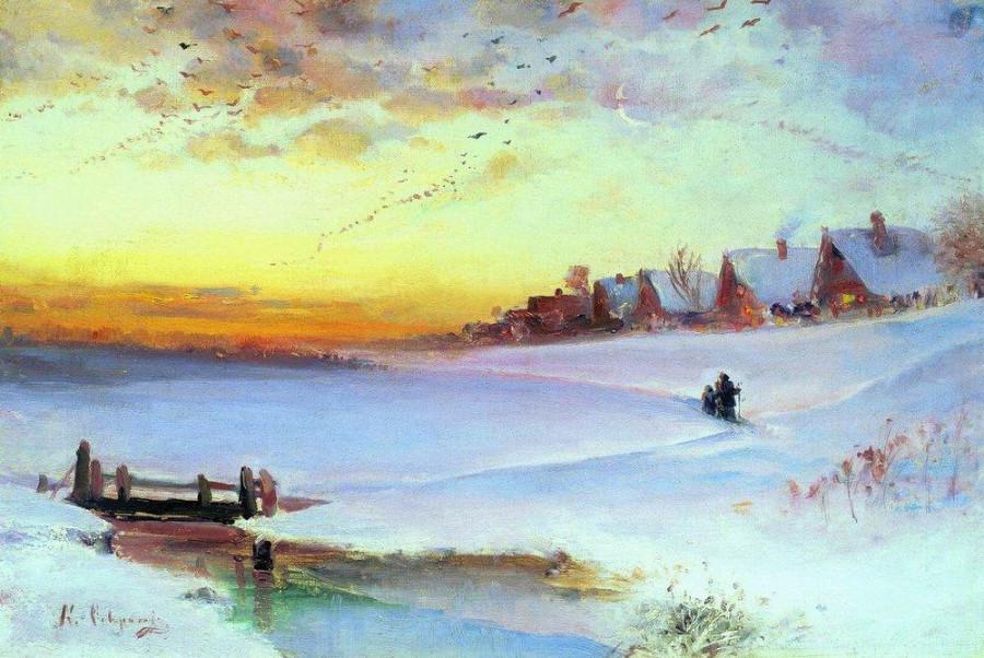 Зимний пейзаж (Оттепель). 1890-е