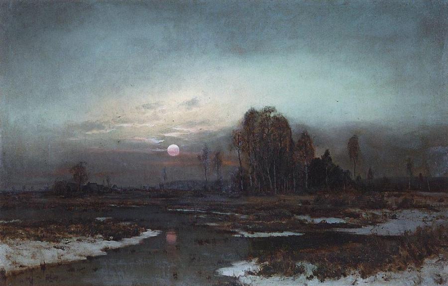 Осенний пейзаж с заболоченной рекой при луне. 1871