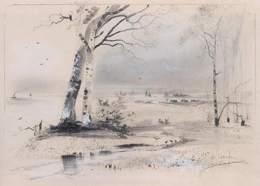 Ранняя весна. Березы у реки. 1893