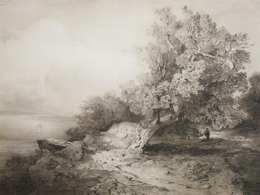 Старый дуб у обрыва над рекой. 1857