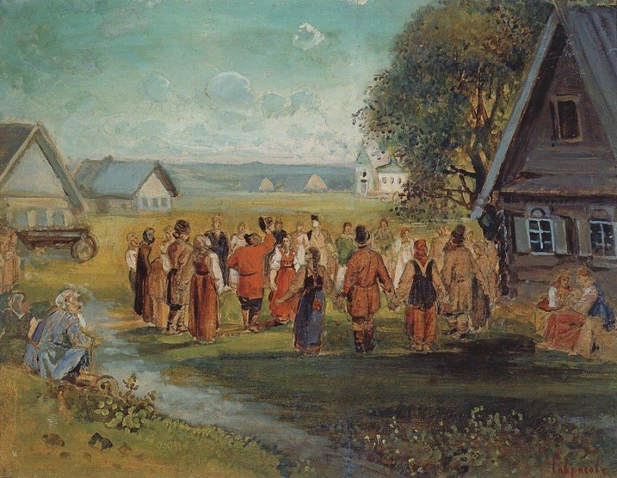 Хоровод в селе. 1873-1874