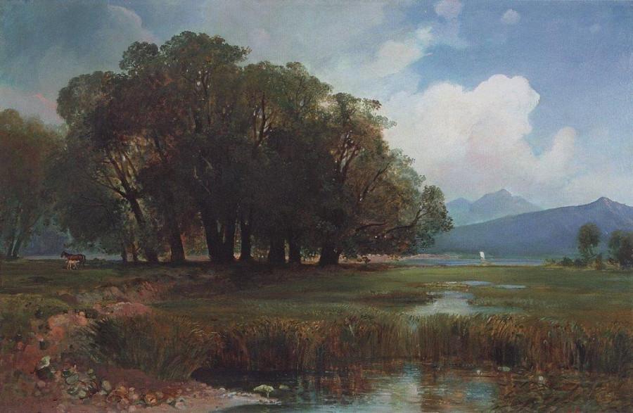 Швейцарский пейзаж с лошадьми. Не позже 1867