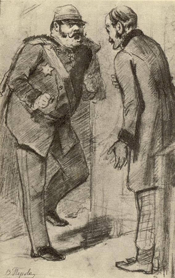 Генерал, требующий лошадей. Эскиз картины 'Сцена на почтовой станции' Рисунок карандашом. 1866 ГТГ