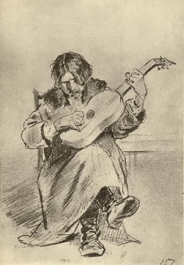 Гитарист-бобыль. (Эт.к к.того же названия из ГРМ). Рис. карандашом. ГТГ