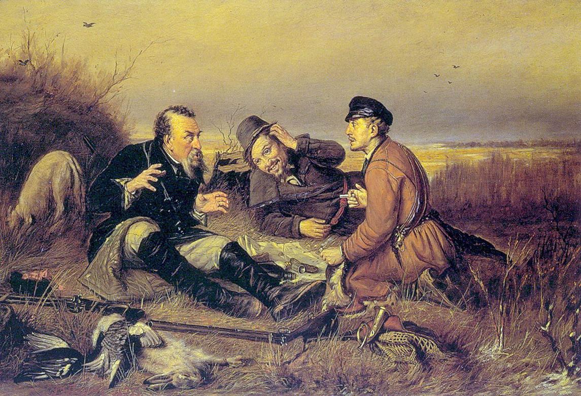 Охотники на привале. 1877. Авторск. повторение. Холст, масло. 58х89 ГРМ