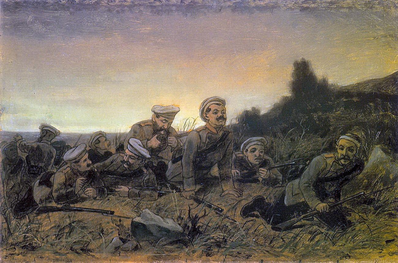 Пластуны под Севастополем. Эск. картины 1874 г. из КМРИ. 40х60.8 ГТГ