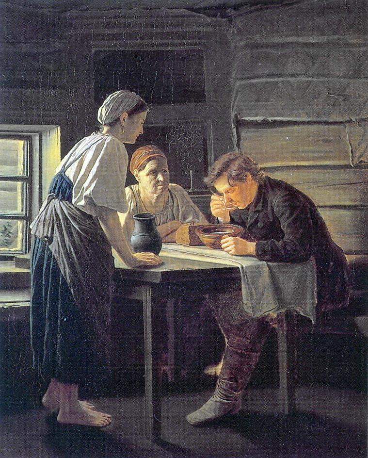 Прием странника. 1874. Холст, масло. 93x78