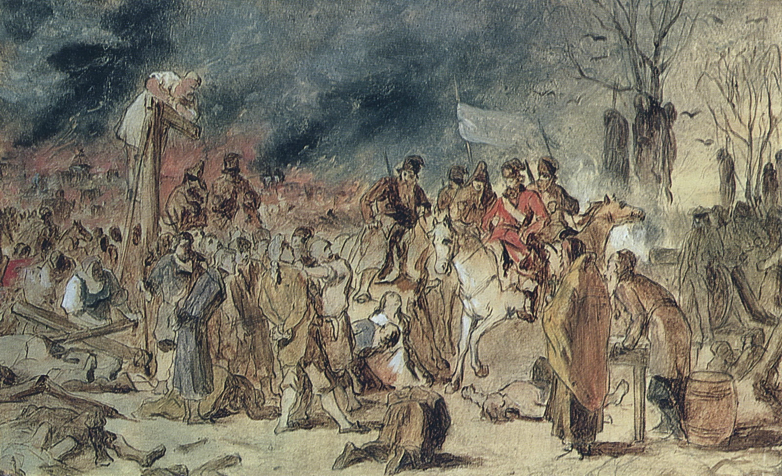 Суд пугачева. Эскиз картины 1875 г. из ГИМ. Х., м. 30.3х43 ГТГ