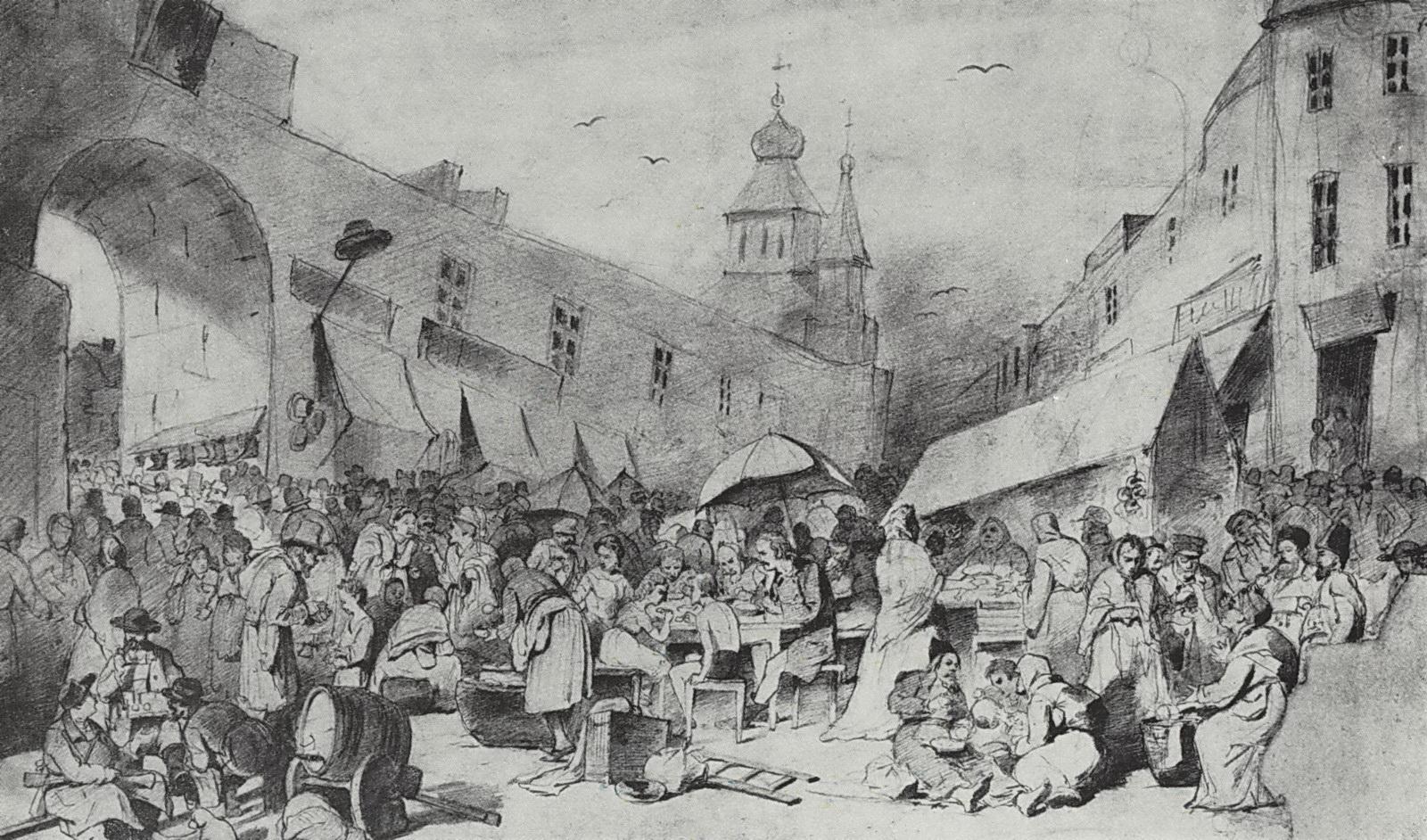 Толкучий рынок в Москве. 1868 Рис. 29,8х48,7 ГТГ