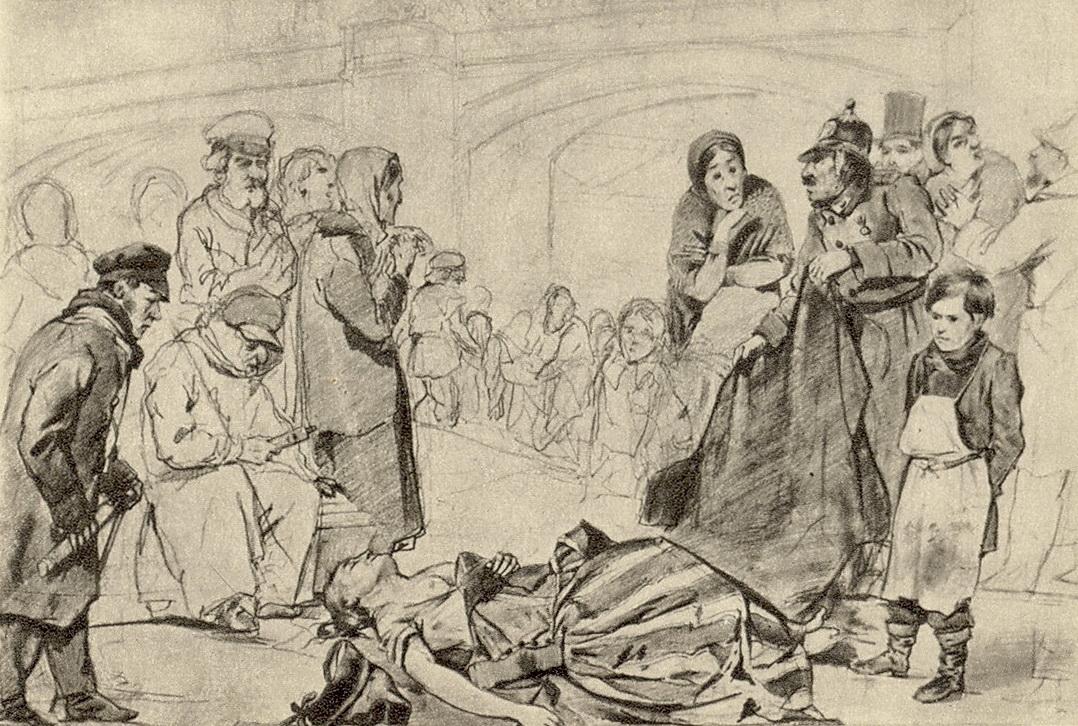 Утопленница. Эскиз картины того же названия. Рисунок карандашом. 1867 ГТГ
