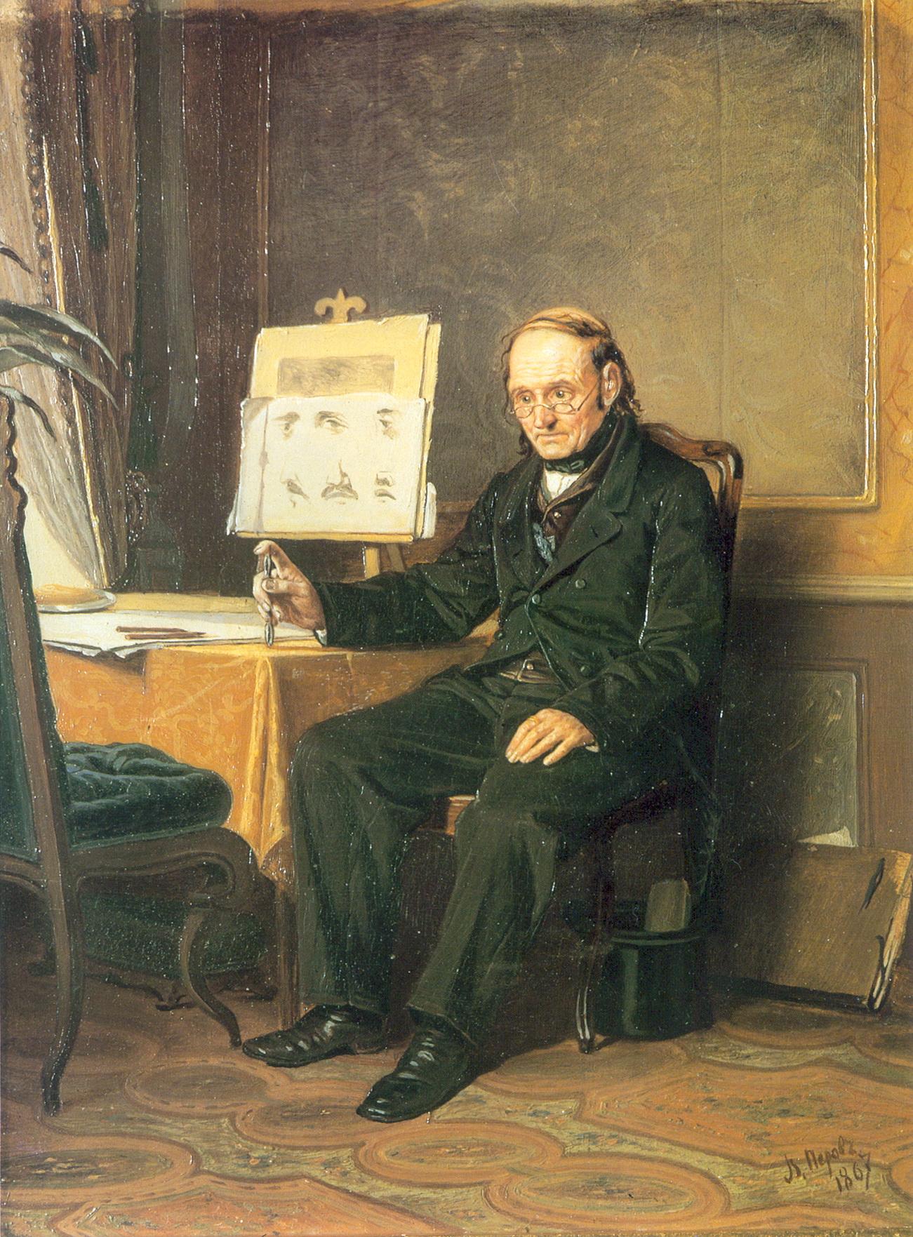 Учитель рисования. 1867 Д., м. 25x20 ГТГ
