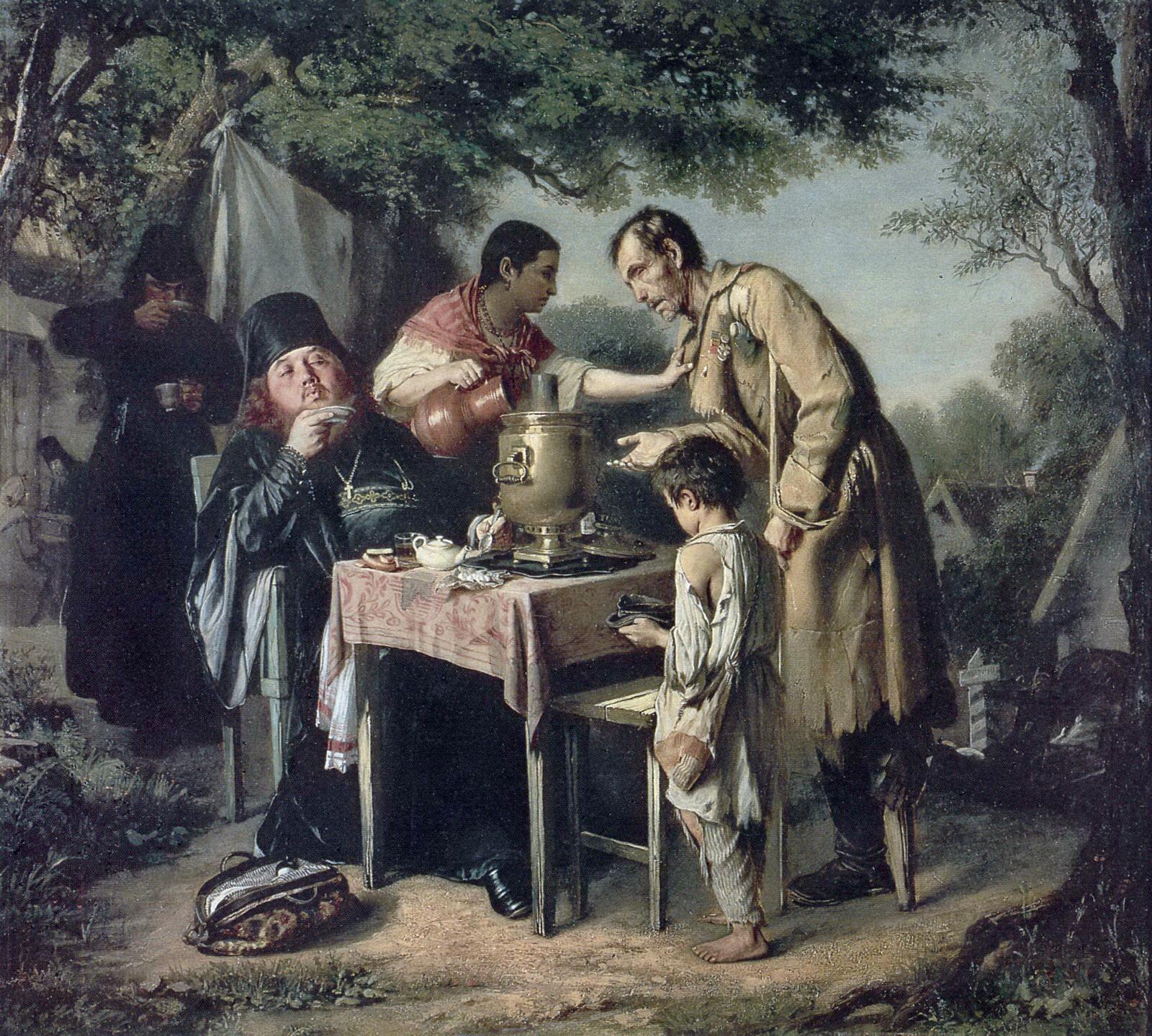 Чаепитие в Мытищах, близ Москвы.  1862 Х., м. 43,5х47,3 ГТГ