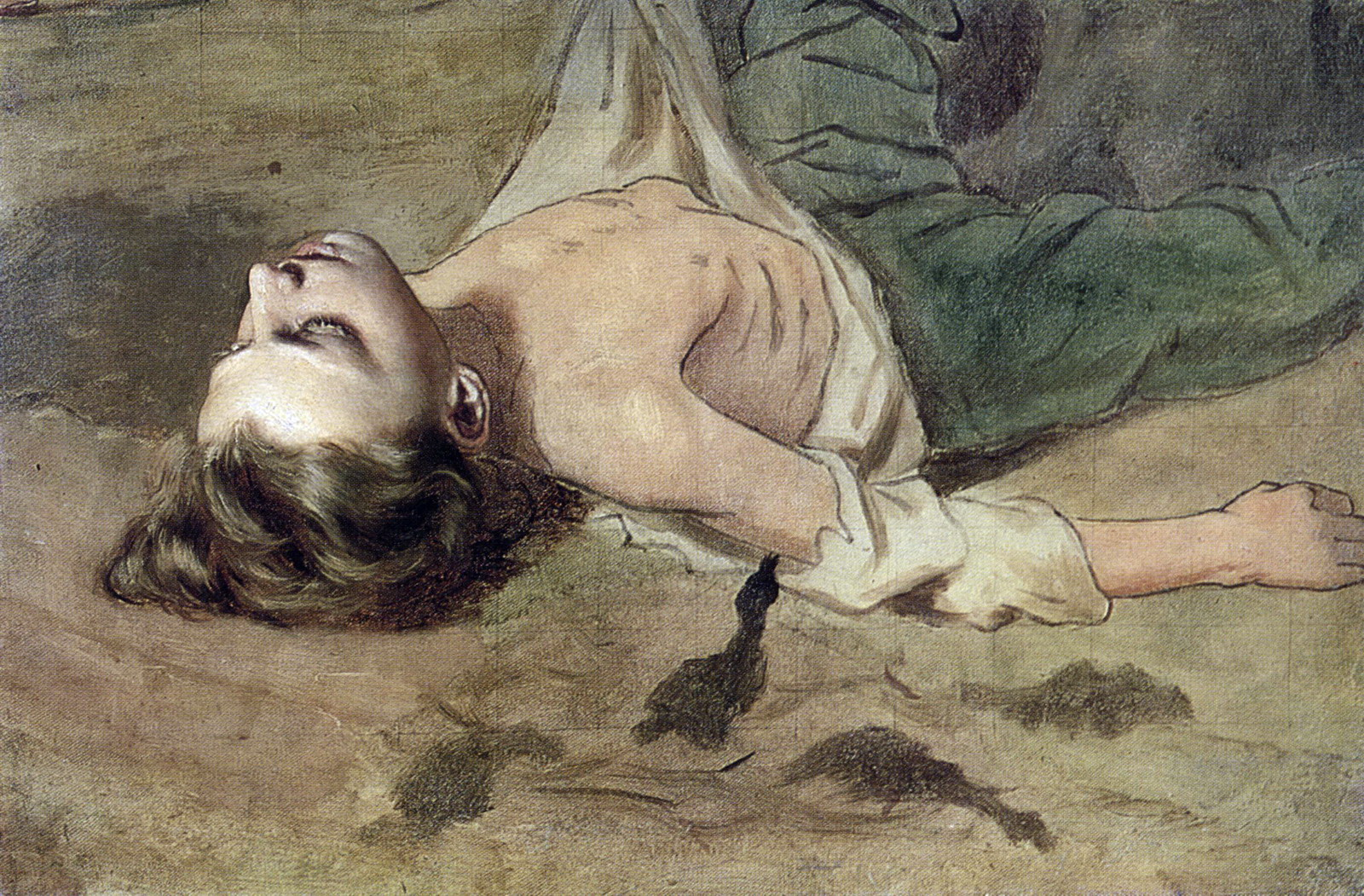 Этюд лежащего мальчика к картине 'Суд Пугачева'. Нач. 1880-х. Х., м. 47х71,5. Пенза