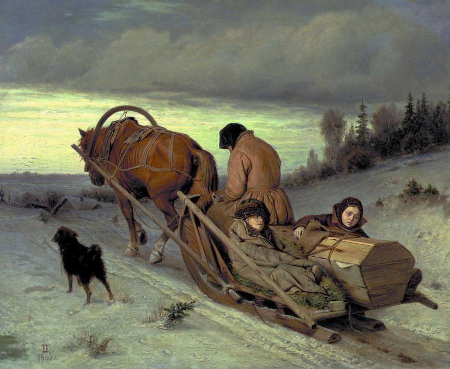 2 Проводы покойника. 1865 Холст, масло. 43.5x57 ГТГ
