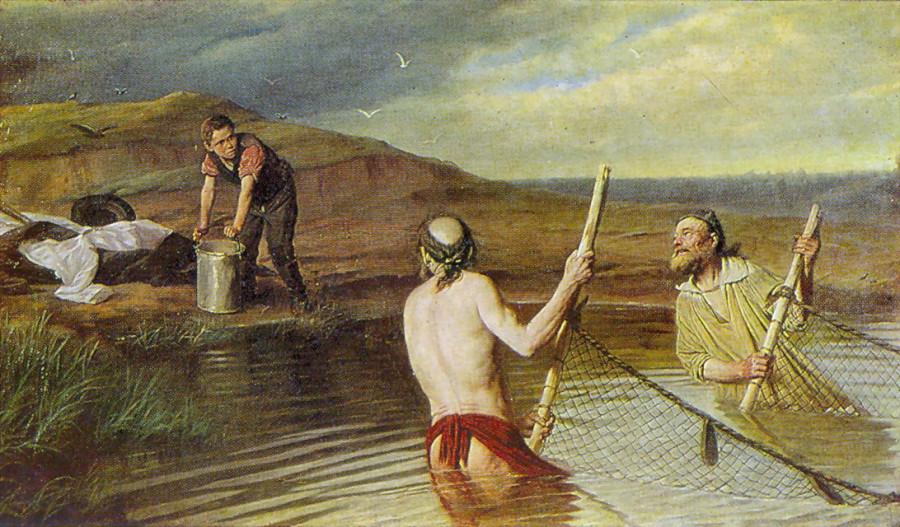 3 Рыбаки. (Священник, дьякон и семинарист). 1879 Х., м. 104х179.5 Н.Новгород