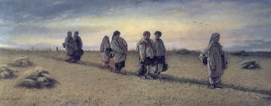 Возвращение жниц с поля в Рязанской губернии. 1874 Х., м. 25,8х65 ГТГ