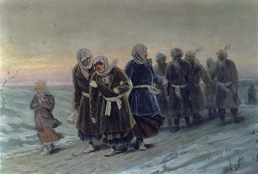 Возвращение крестьян с похорон зимою. Нач. 1880-х К., м. 36х56,7 ГТГ