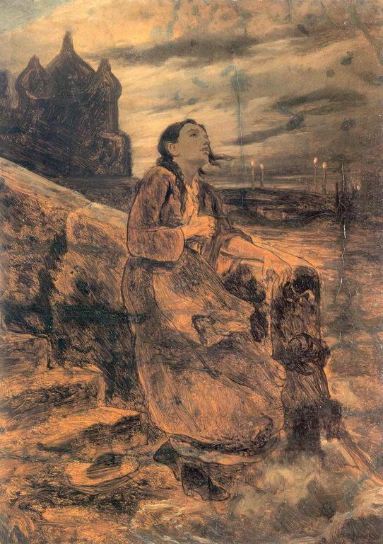 Девушка, бросающаяся в воду. Эскиз. 1879 Х., м. 56.5х41.7. ГРМ