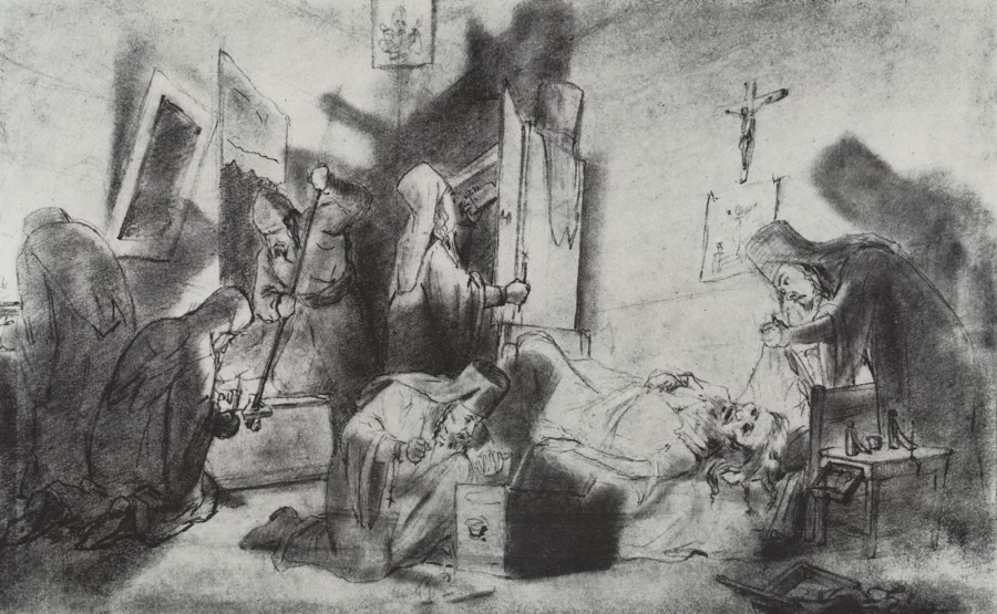 Делёж наследства в монастыре (Смерть монаха). Рисунок карандашом. 1868 Рис.18х27,5 ГТГ