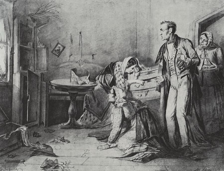 Кража со взломом в Пасхальную ночь. 1861 Рис. 33х42,5 ГТГ