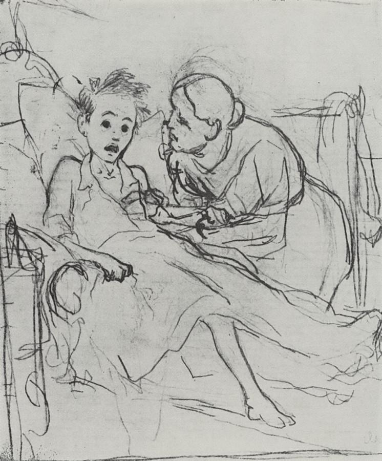 Мать с больным ребенком. 1878 Рис. 29,9х22,6 ГТГ
