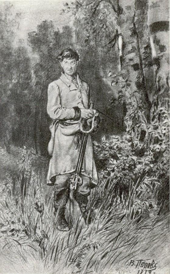 На тяге. Рисунок карандашом. 1879