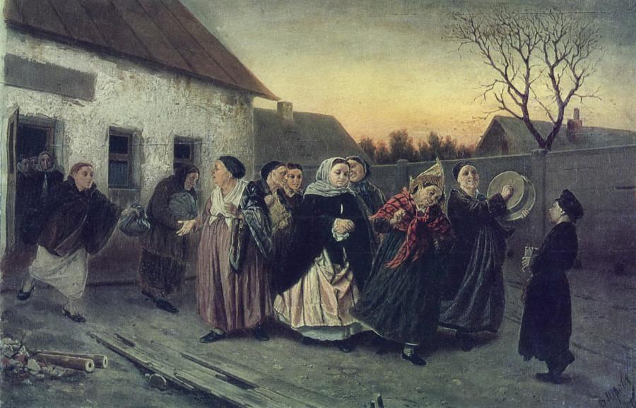 Накануне девичника. Проводы невесты из бани. 1870 Х., м. 48х72,8 КМРИ
