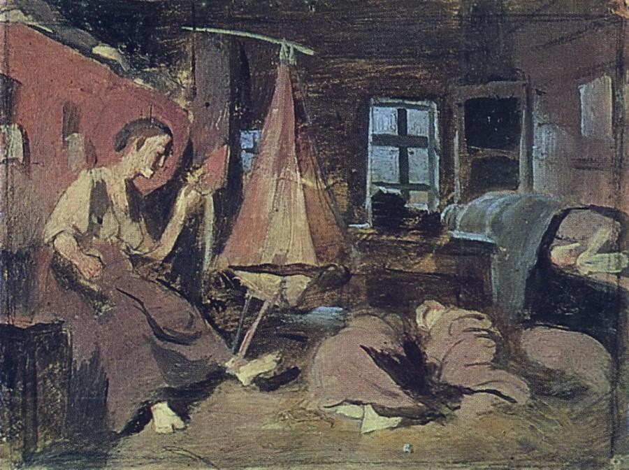 Ночью в избе. Эскиз для 'Спящие дети'. Б. на к., м. 14,4х20 ГТГ